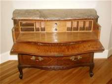 Chest Desk Secretary Signed Italian Marble Rosewood 19t