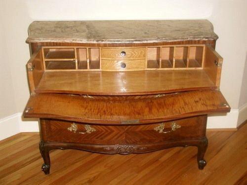 Chest Desk Secretary Signed Italian Marble Rosewood 19t