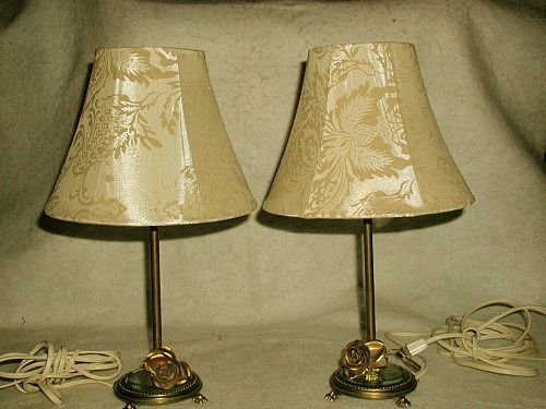 French Mirrored Lamps Brass Early 1900's Vanity Buffet