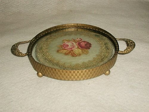 Vanity dresser tray petite French 19th C petti-point br