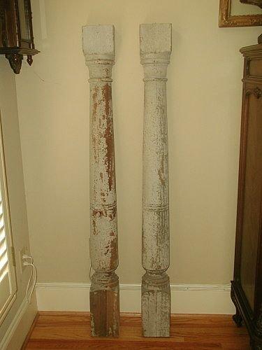 Italian Wall Columns 19th Century Original Paint