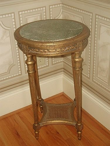 Gilt marble table France 19th century hand carved caned
