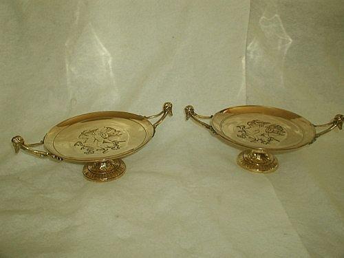 Italian brass tazzas solid 19th century