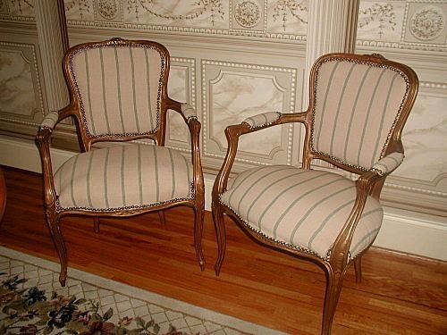Carved French Chairs Fruitwood Early 1900's Newly Uphol