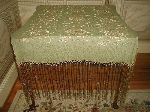 Silk Piano Throw with Silk Macrame Gorgeous Fringe Earl