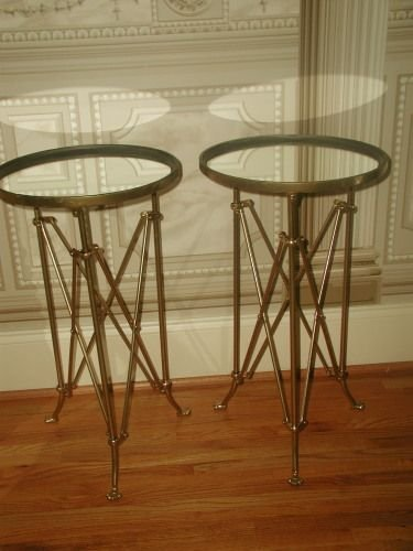 French Campaign Tables Mirrored Gilt Metal Early 1900's