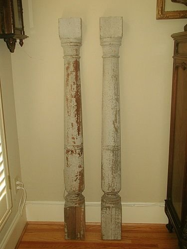 Italian Wall Columns 19th Century Original Paint
