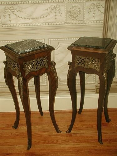 Marble Pedestal Tables France Mid 19th C Bronze Mounts