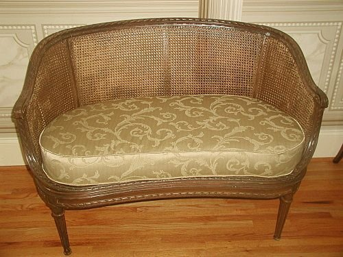 French Caned Settee 19th Century Newly Upholstered Cush