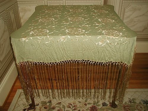 Silk Piano Throw with Silk Macrame Gorgeous Fringe Earl