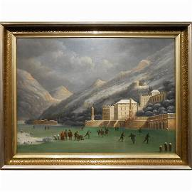 Ice Skaters On Lake Como, Italy, 1829 Oil Painting
