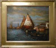 19th Century Impressionist Venice Sunrise Oil Painting