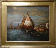 19th Century Impressionist Venice Sunrise Oil Painting