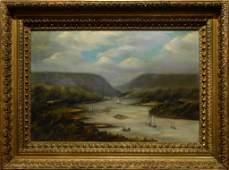 Primitive Hudson River Oil Painting In Original Ornate