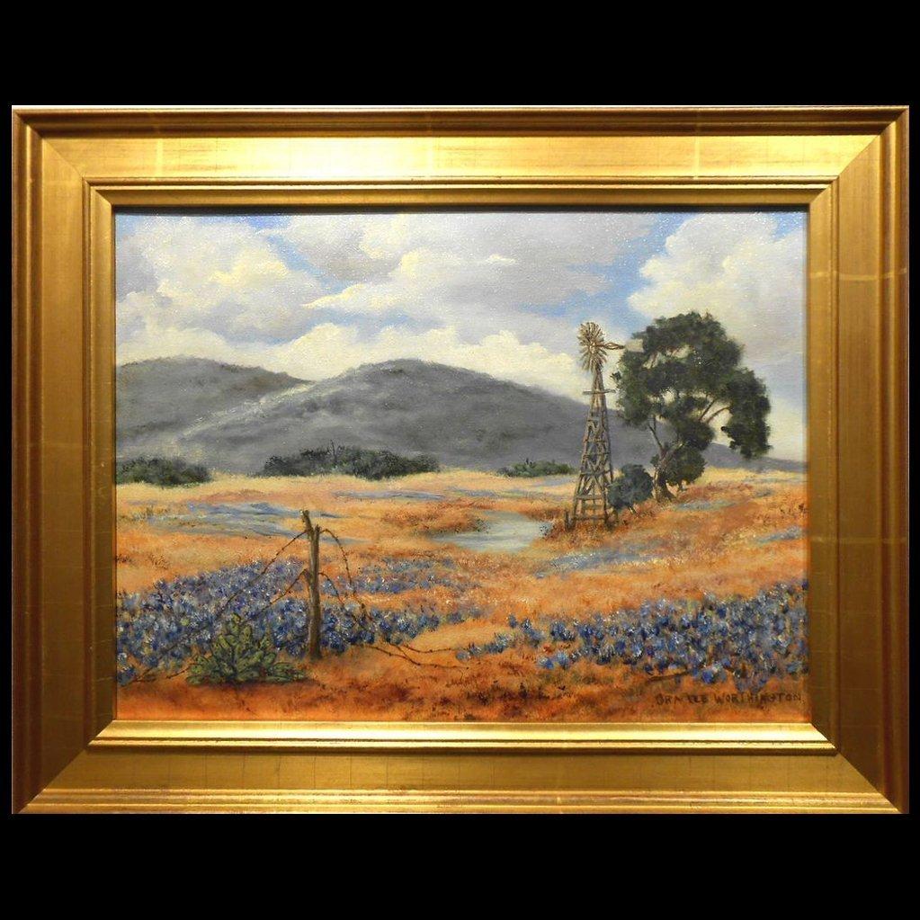 Arkansas Bluebonnet Landscape Oil Painting