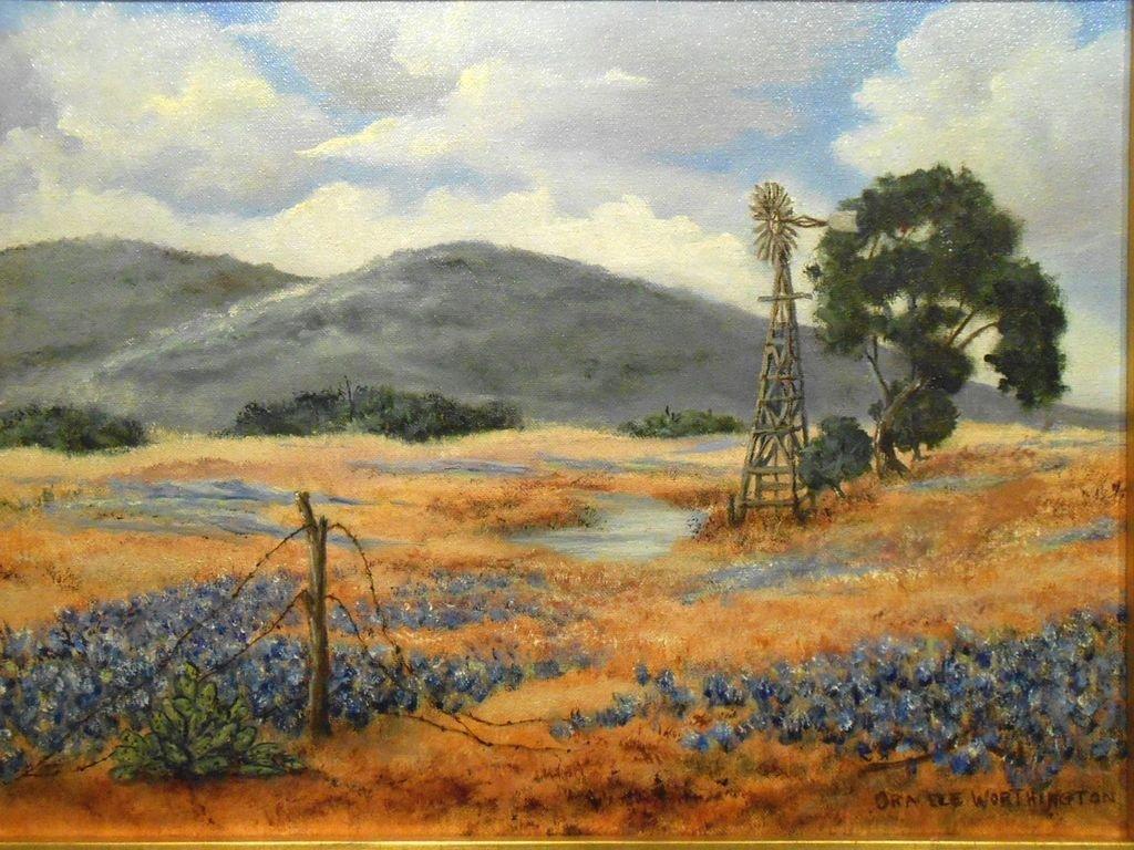 Arkansas Bluebonnet Landscape Oil Painting - 2