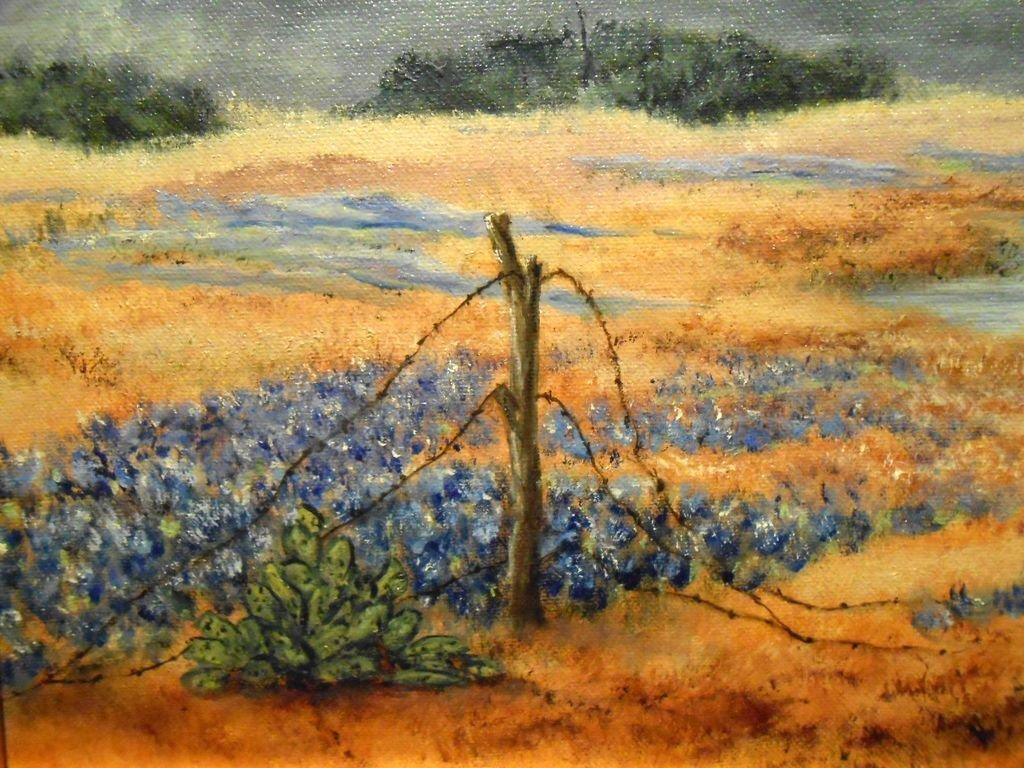 Arkansas Bluebonnet Landscape Oil Painting - 4