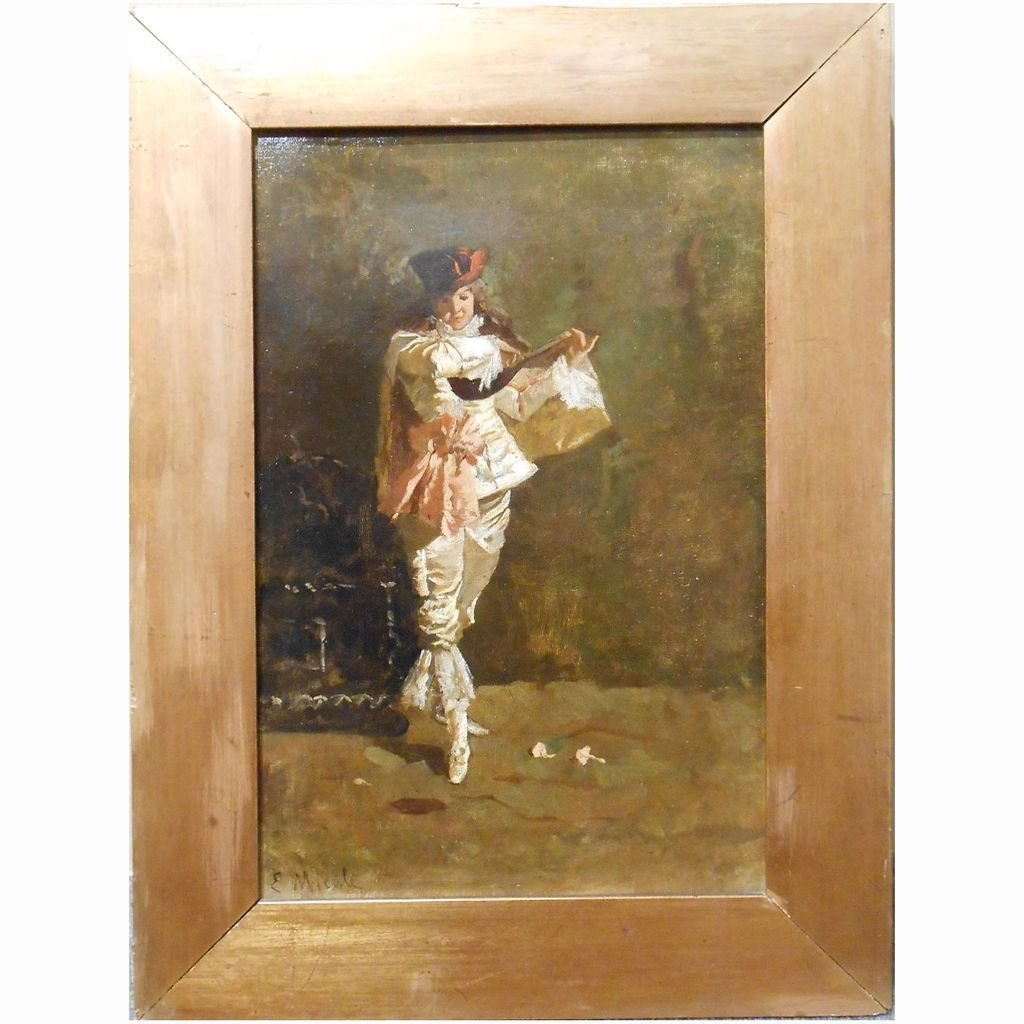 Italian Lute Player On Stage: Antique Oil Painting