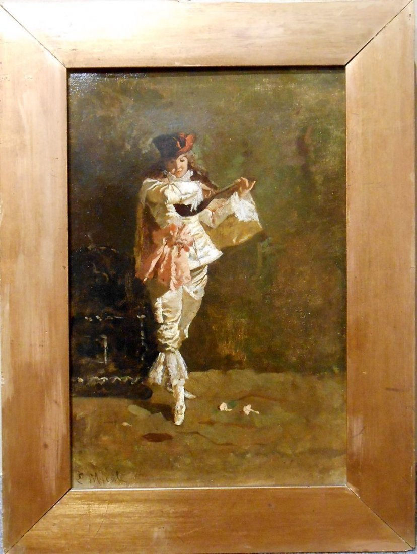 Italian Lute Player On Stage: Antique Oil Painting - 2
