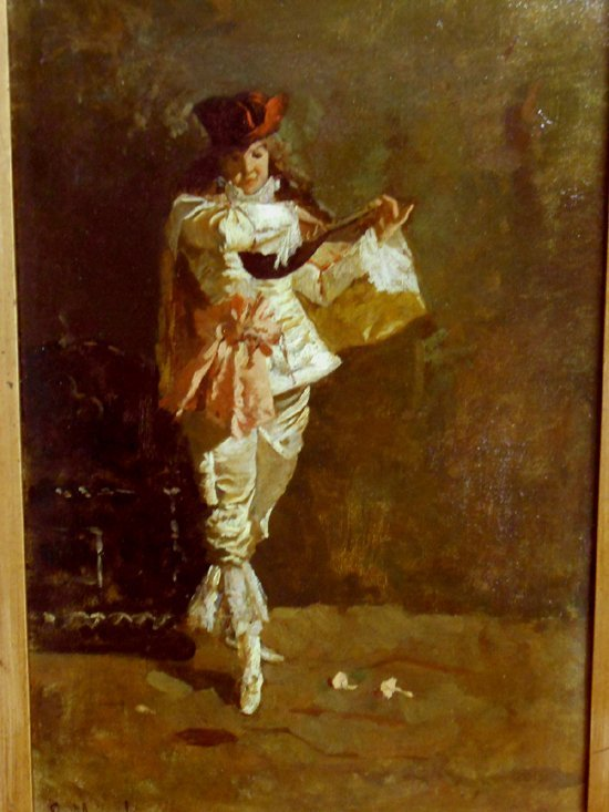 Italian Lute Player On Stage: Antique Oil Painting - 3