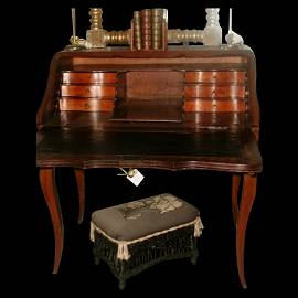French Fruitwood Desk 18th Century Hand Carved Unusual