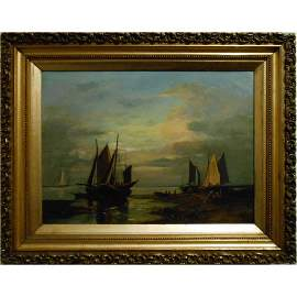 19th Century Dutch Seascape Oil on Canvas