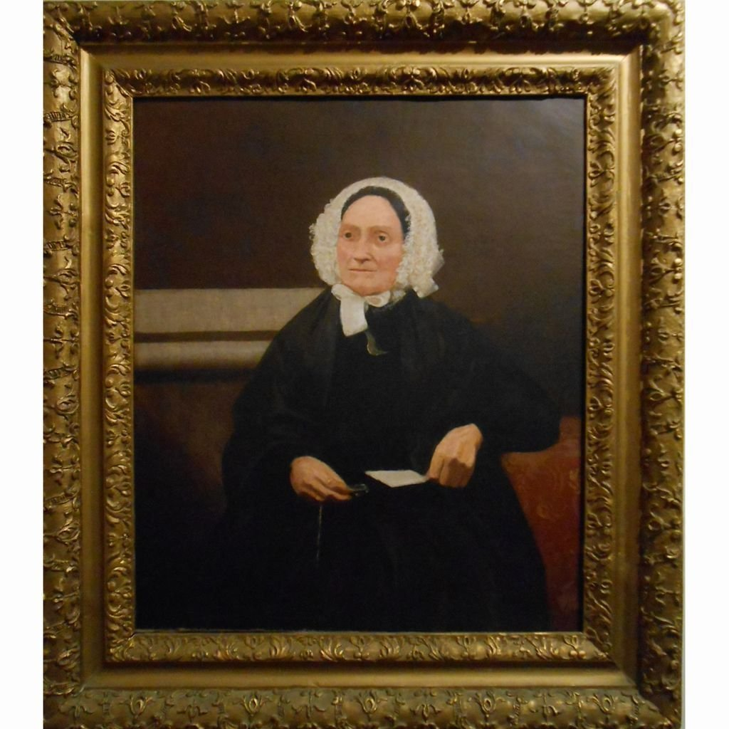Antique Oil Portrait Of American Matron In Hand Carved
