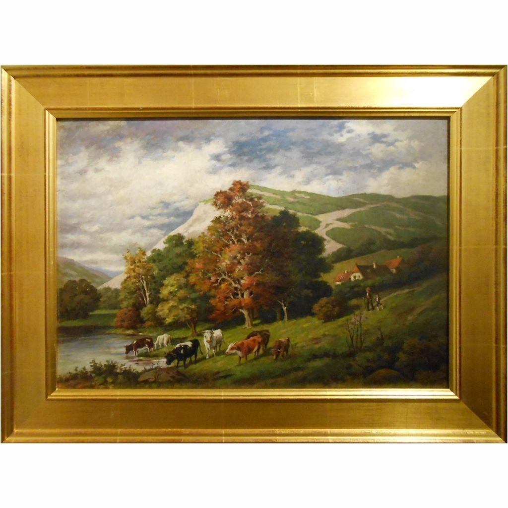 G. Sandorff Antique Connecticut Oil Painting With Cows