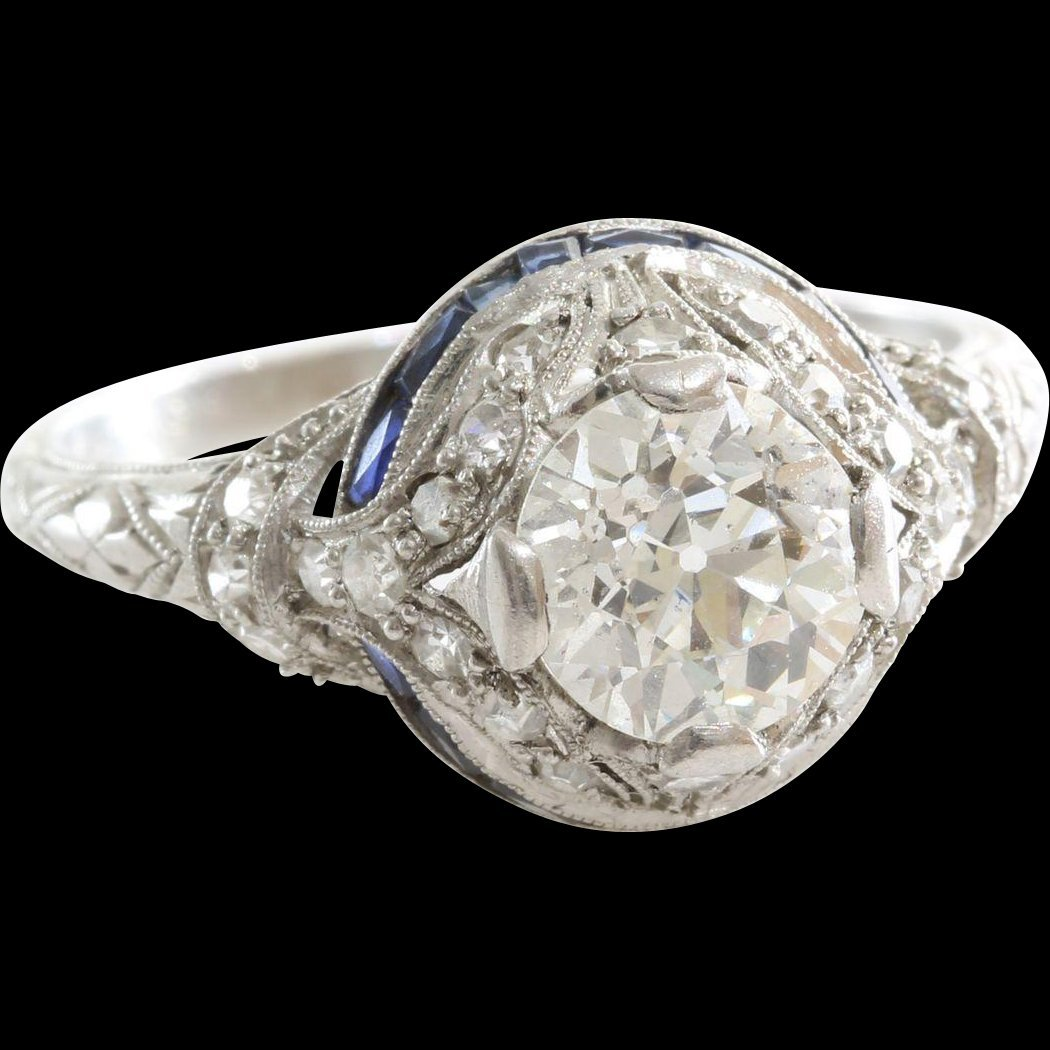 Art Deco Diamond Ring | Platinum Sapphire | Vintage