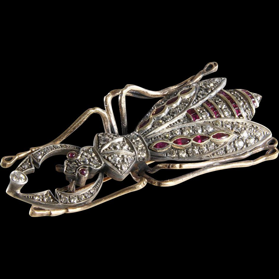Antique Bug Brooch | Diamond Ruby 14K Gold | Insect