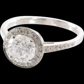 Halo Diamond Engagement Ring | 14K White Gold | Vintage