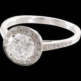 Halo Diamond Engagement Ring | 14K White Gold | Vintage