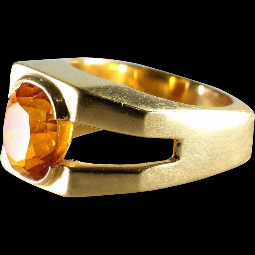 Orange Sapphire Mens Ring | 18K Yellow Gold | Vintage