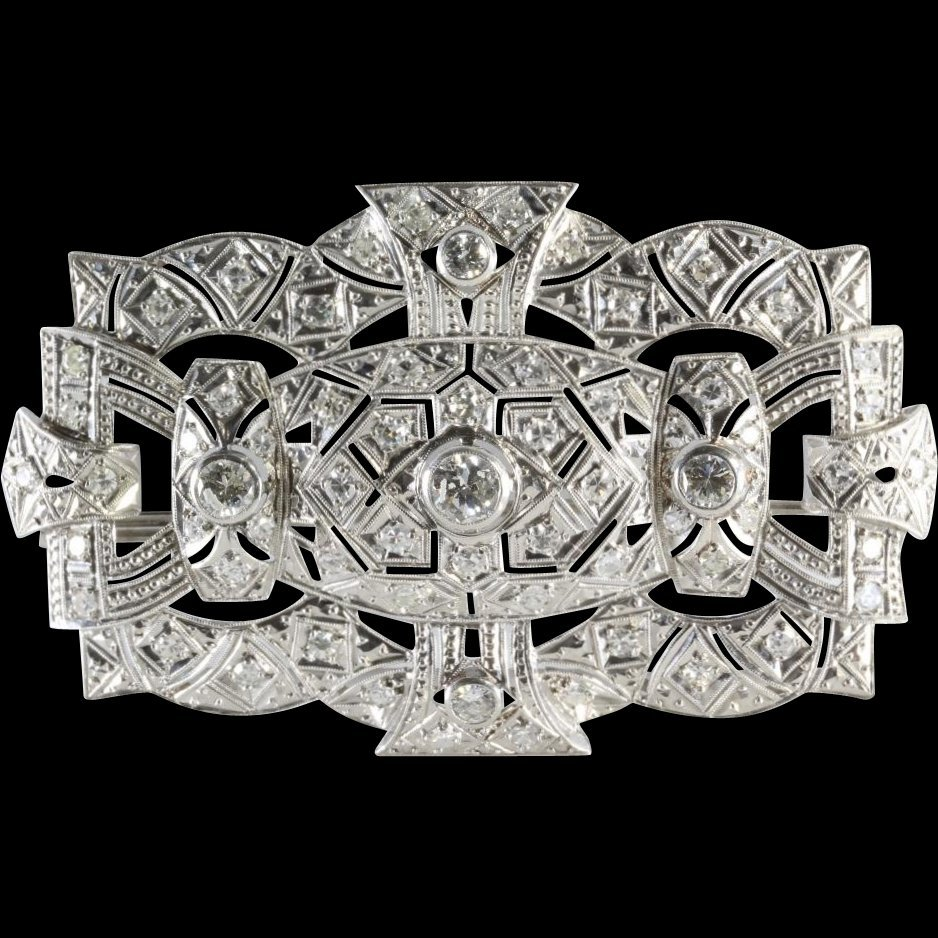 Edwardian Diamond Platinum Brooch | French Art Nouveau
