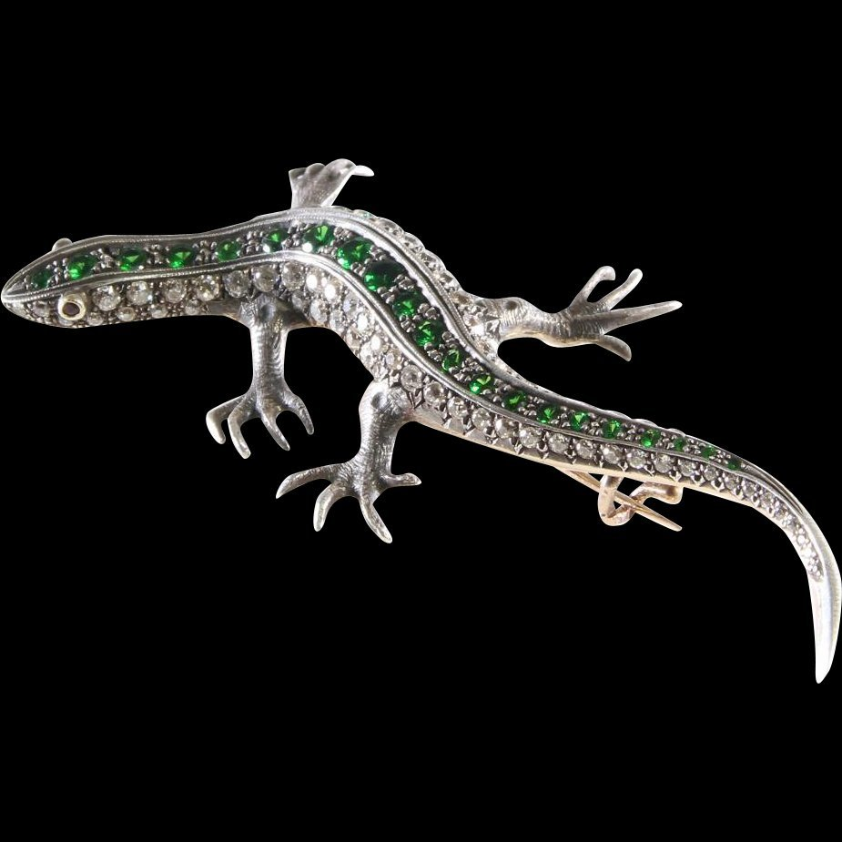Victorian Lizard Brooch | Diamond Demantoid Gold | Ruby