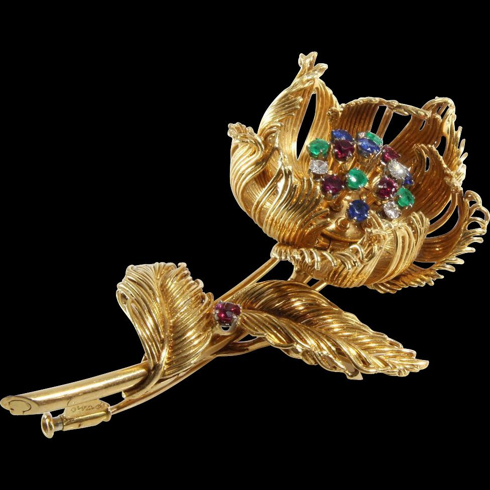 Cartier Flower Brooch | 18K Yellow Gold | Diamond Ruby
