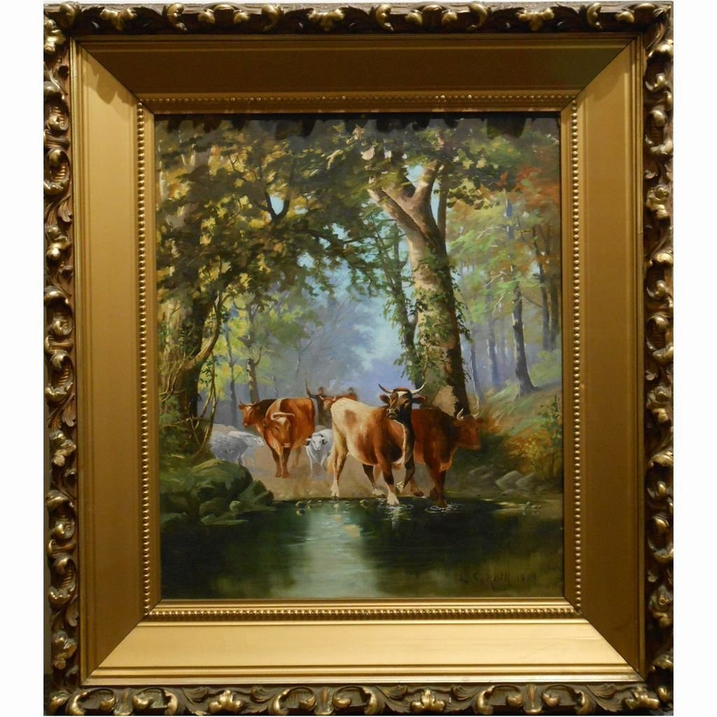 1909 Cattle & Sheep Oil Painting In Fabulous Frame