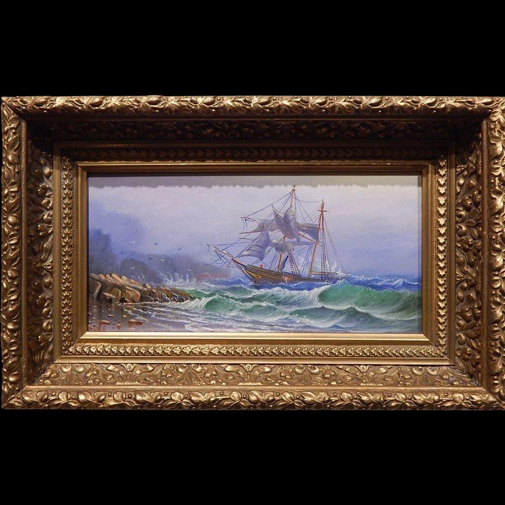 Ships In Distress Antique Marine Oil By Ira W. Hamilton