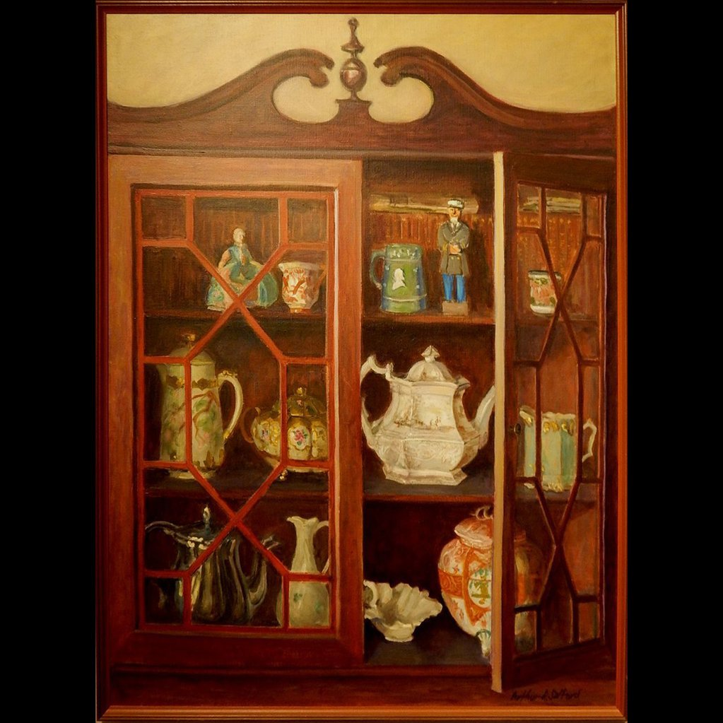 Contemporary Realism Oil Painting Of China Cabinet