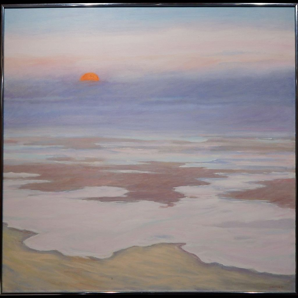 Fog Rolling In: 1987 Oil Painting By Cape Cod Artist S.