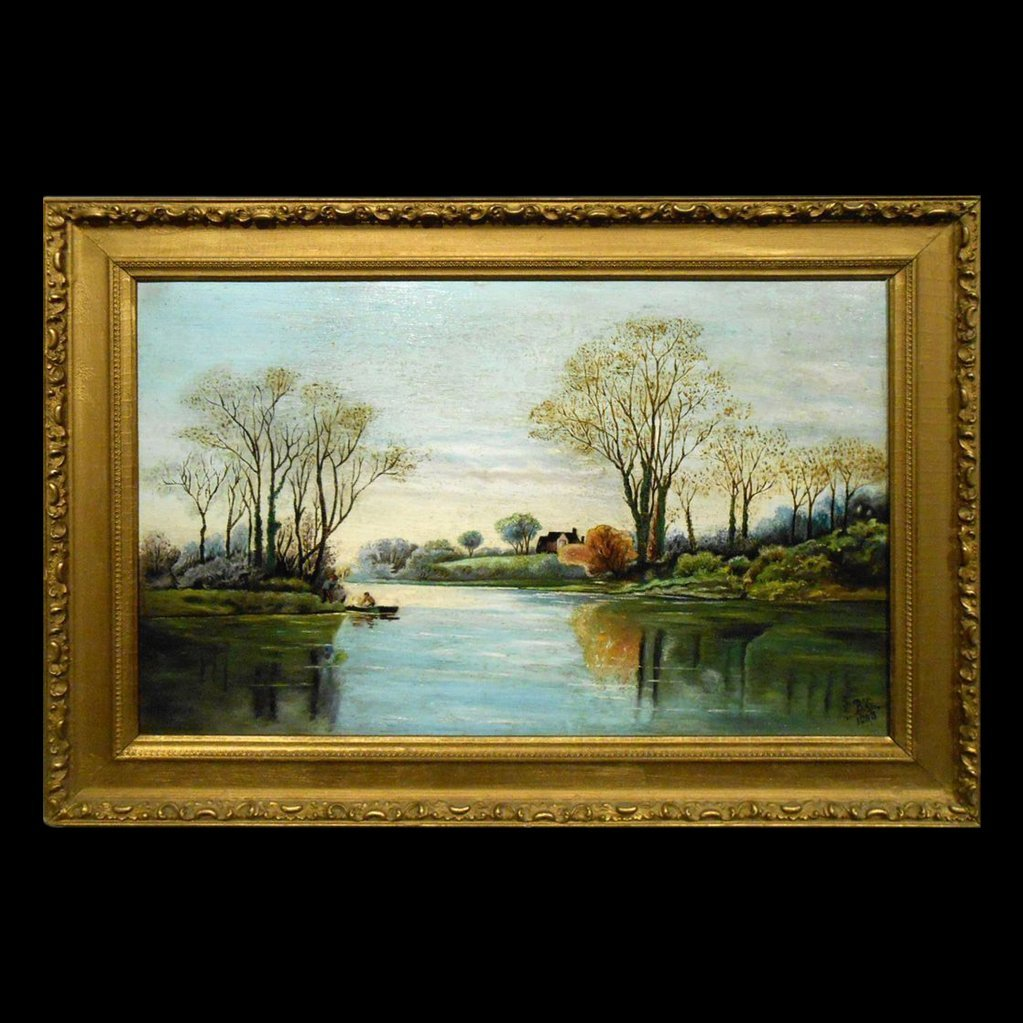 1903 American Primitive Oil Landscape Painting Signed