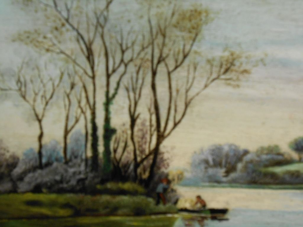 1903 American Primitive Oil Landscape Painting Signed - 5