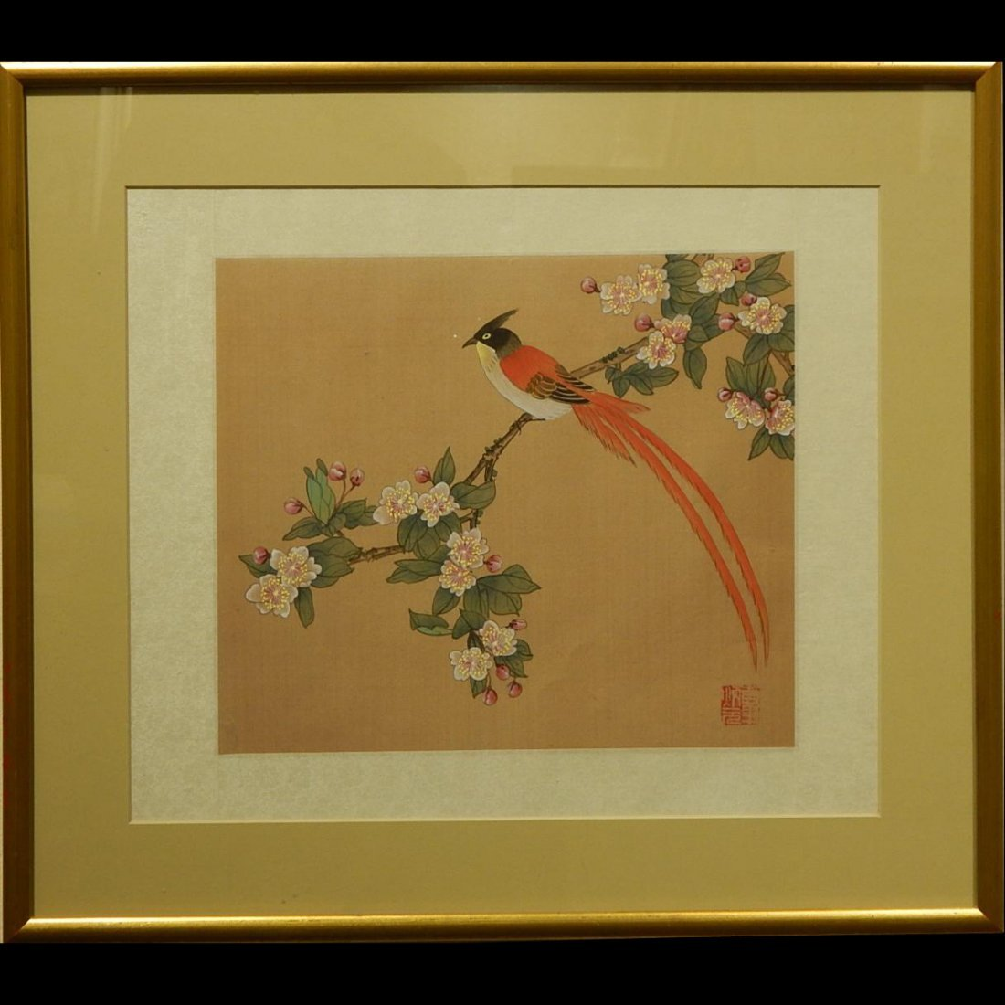 Japanese Silk Painting Of Bird