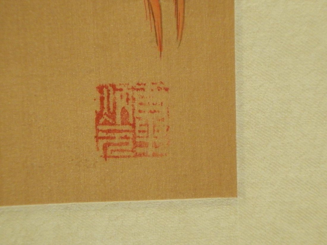 Japanese Silk Painting Of Bird - 6