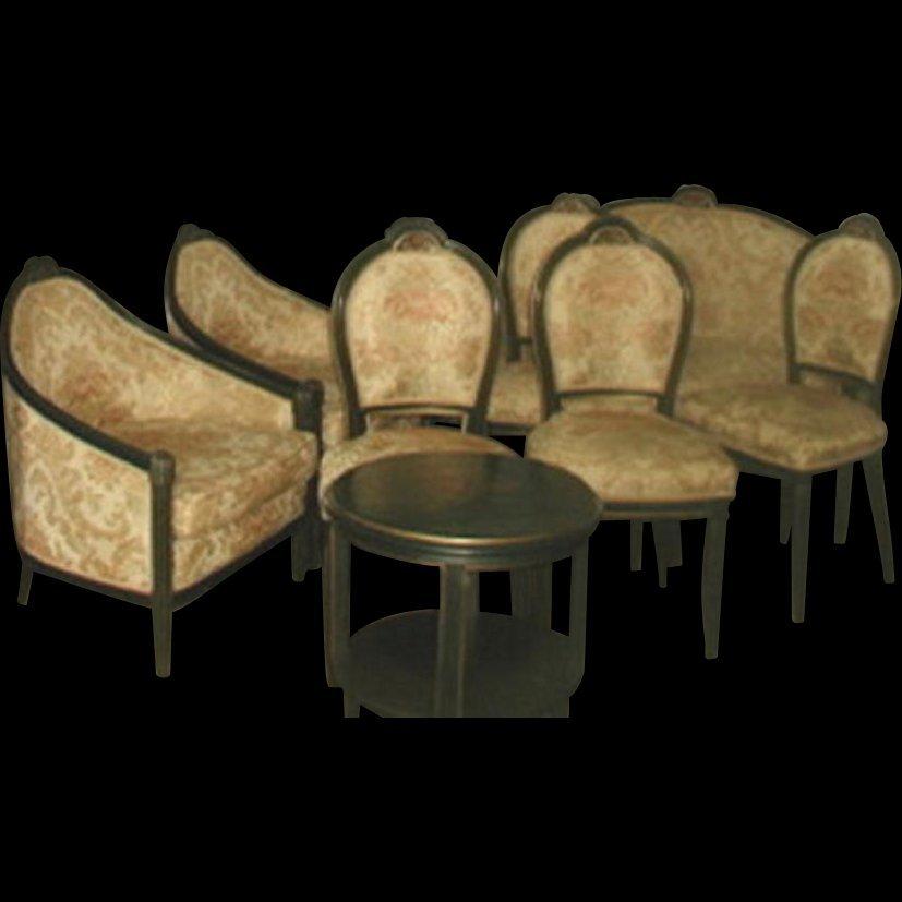 Italian Parlor Set 10 Piece 18th Century New Upholstery
