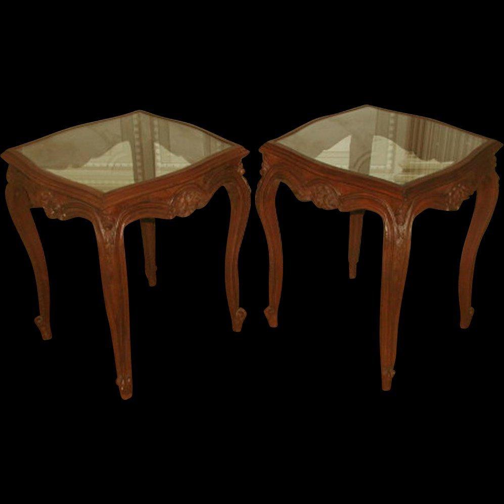 Coffee Side Tables Walnut Glass 19th Century Pair
