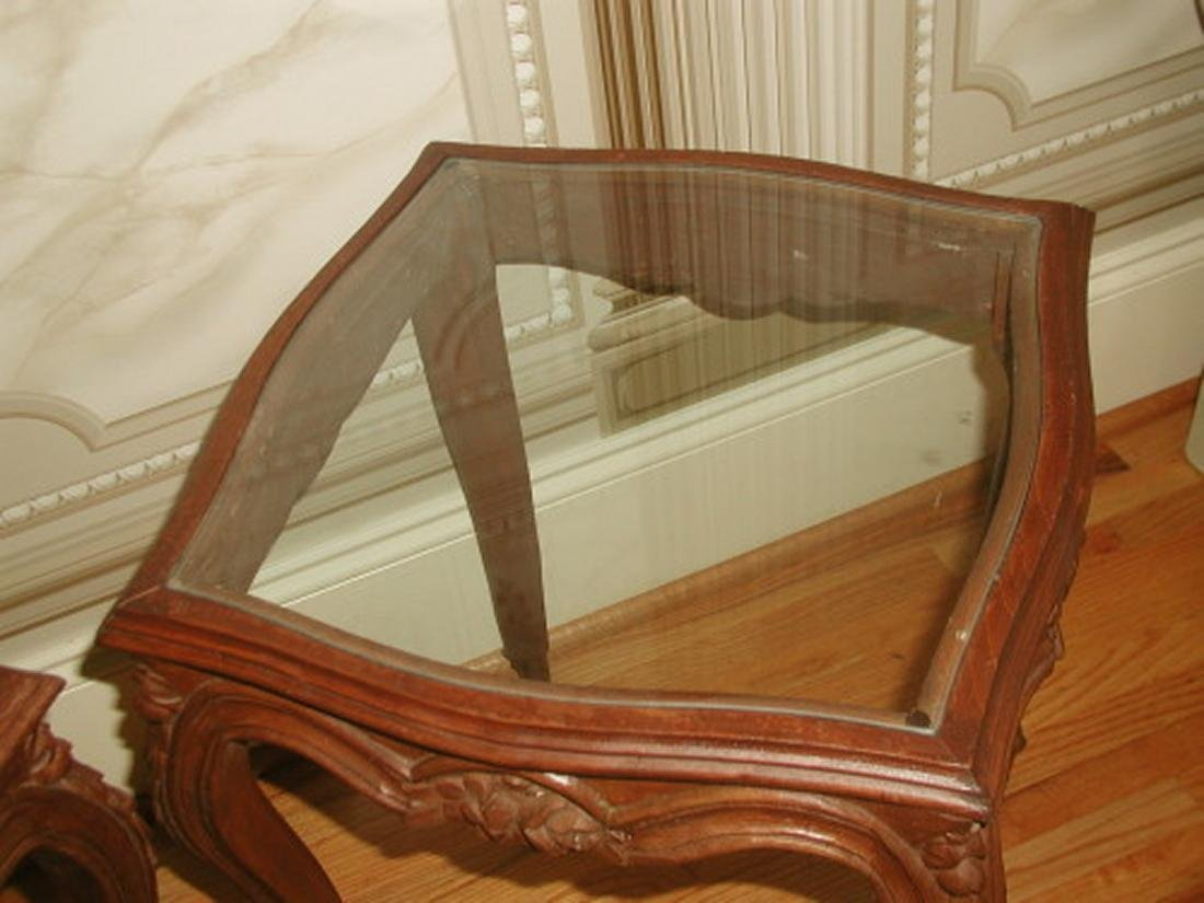 Coffee Side Tables Walnut Glass 19th Century Pair - 2