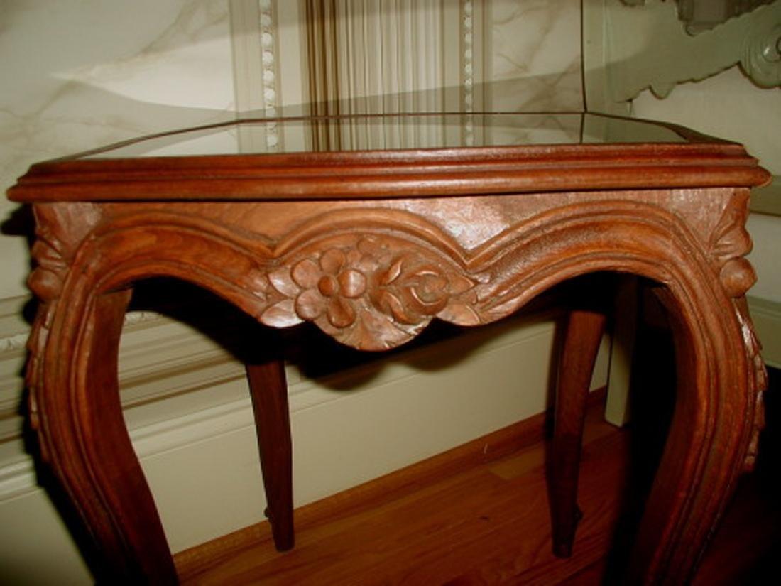 Coffee Side Tables Walnut Glass 19th Century Pair - 3