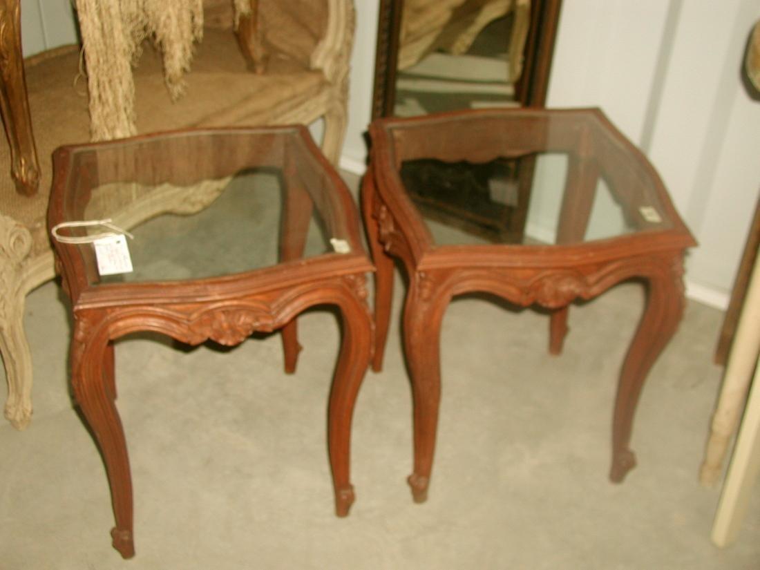 Coffee Side Tables Walnut Glass 19th Century Pair - 5