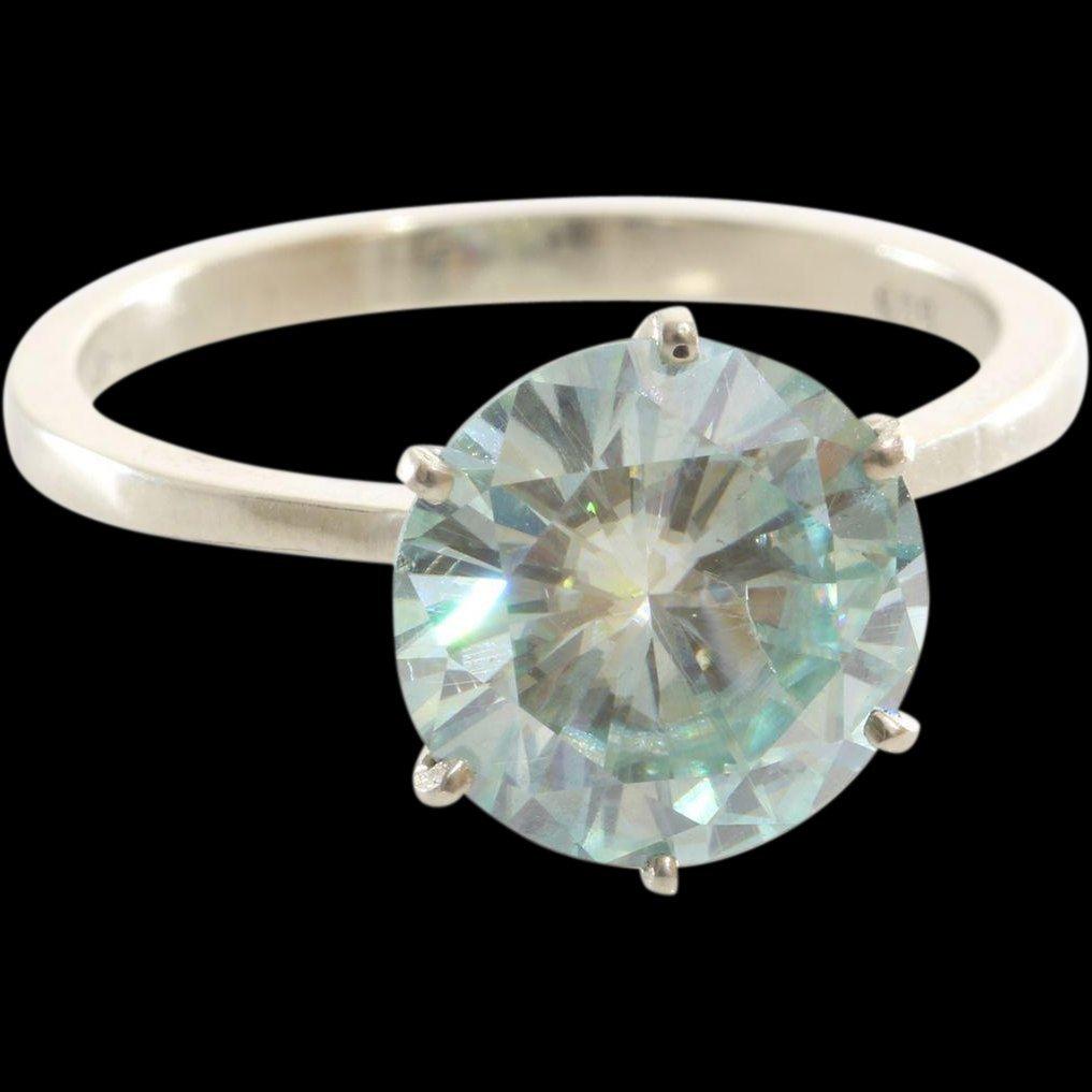 Green Moissanite Engagement Ring | 14K White Gold |